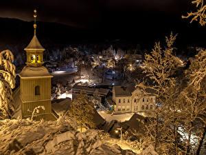 Картинка Германия Зима Дома Вечер Oybin