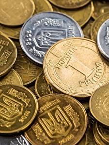 Обои Деньги Монеты Вблизи hryvnya