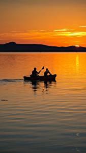 Фотография Венгрия Рассвет и закат Озеро Лодки 2 Balaton lake