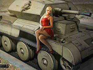Картинки WOT Танки Британский Nikita Bolyakov Красивые Cruiser III Игры Девушки