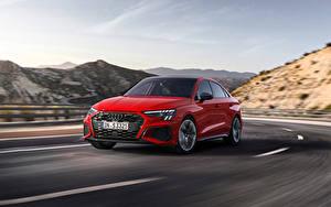 Фотографии Ауди Дороги Движение Красная Металлик S3 Sedan, 2020 авто