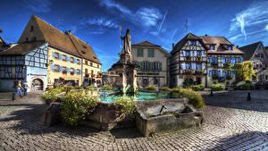 Картинки Франция Здания Фонтаны Памятники HDRI Городская площадь Eguisheim Alsac Города
