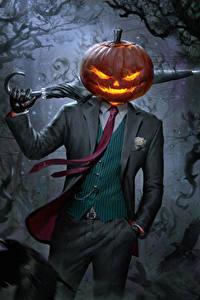 Картинка Хеллоуин Рисованные Монстры Зонт Костюм Jack O' Lantern Фильмы Фэнтези