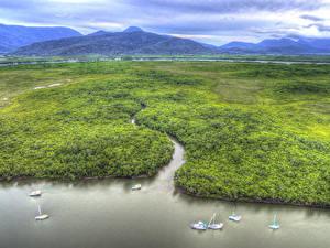 Обои Австралия Пейзаж Горы Реки Леса HDR Сверху Portsmith Cairns Queensland Природа