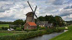 Фото Нидерланды Речка Дома Мельницы Облака Gemaal Природа