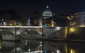 Фотография Рим Италия Здания Речка Мосты Ночь город