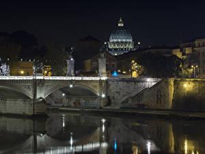 Фотография Рим Италия Здания Речка Мосты Ночные Города