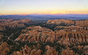 Фото Штаты Парки Пейзаж Скала Сверху Каньоны Bryce Canyon National Park Природа
