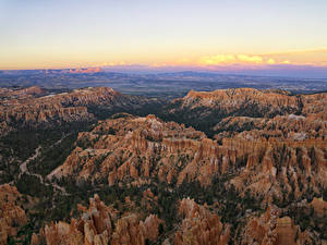Фото Штаты Парки Пейзаж Скала Сверху Каньоны Bryce Canyon National Park