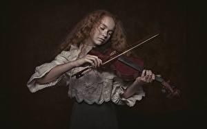 Фотографии Скрипки Черный фон Рука девушка