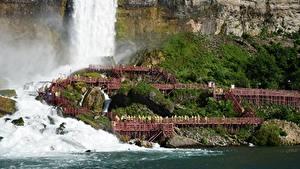 Картинка Канада Речка Водопады Утес Niagara Природа