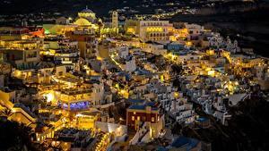 Фотографии Греция Тира Здания Ночные