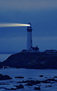 Фото США Побережье Маяки Калифорния Ночь Природа