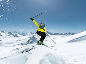 Обои Зима Лыжный спорт Снег Прыжок Спорт