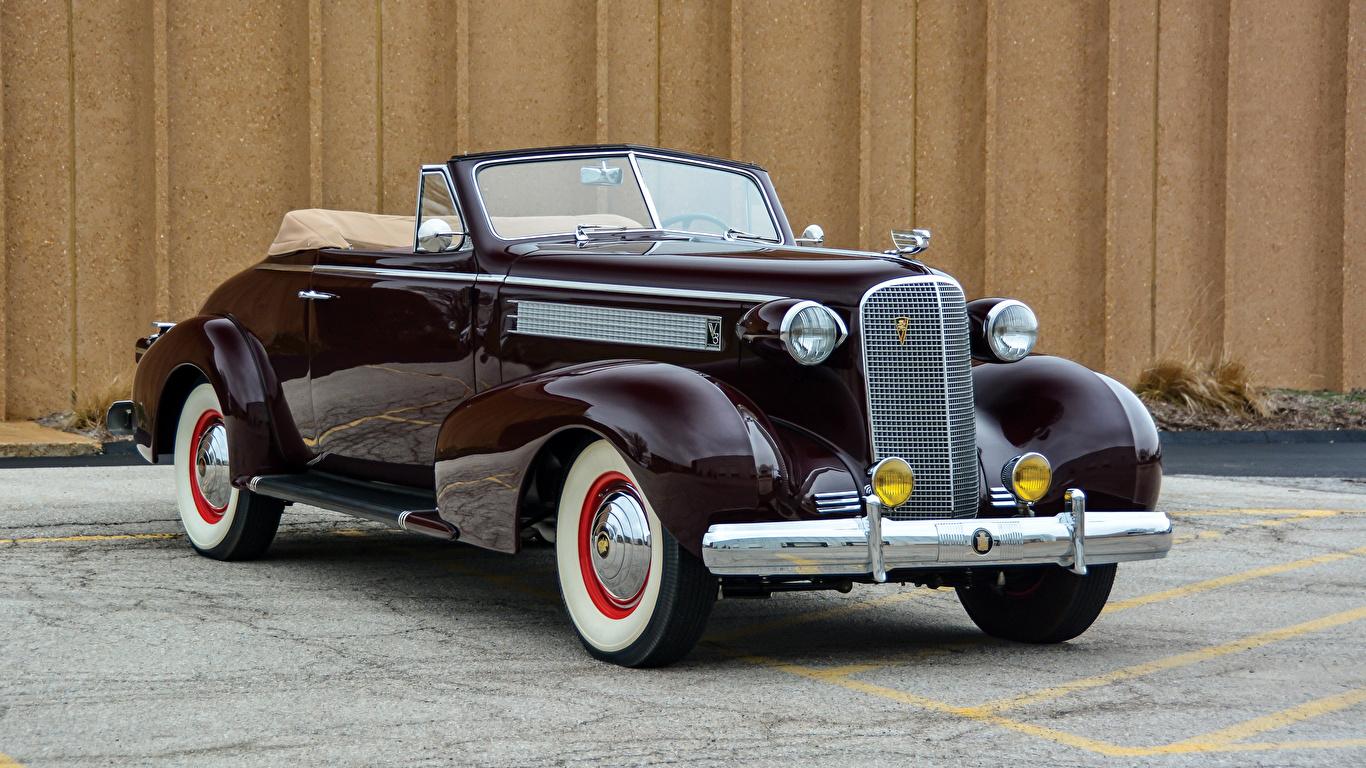 Фото Кадиллак 1937 Series 60 Convertible Coupe by Fisher Кабриолет Ретро бордовая машина Металлик 1366x768 Cadillac кабриолета винтаж бордовые Бордовый старинные темно красный авто машины автомобиль Автомобили