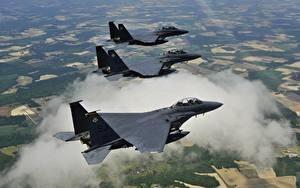 Фотография Самолеты Истребители Трое 3 Американские F-15E McDonnell Douglas 4th Fighter Wing Авиация