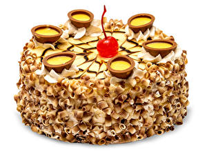 Фото Сладкая еда Торты Вишня Белый фон Дизайна Пища