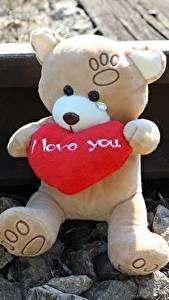 Картинка Плюшевый мишка Любовь Камень Сердце Рельсы Сидит