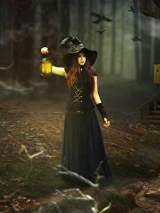 Фото Ведьма Фонарь Ночь Шляпа Девочки Фэнтези Девушки