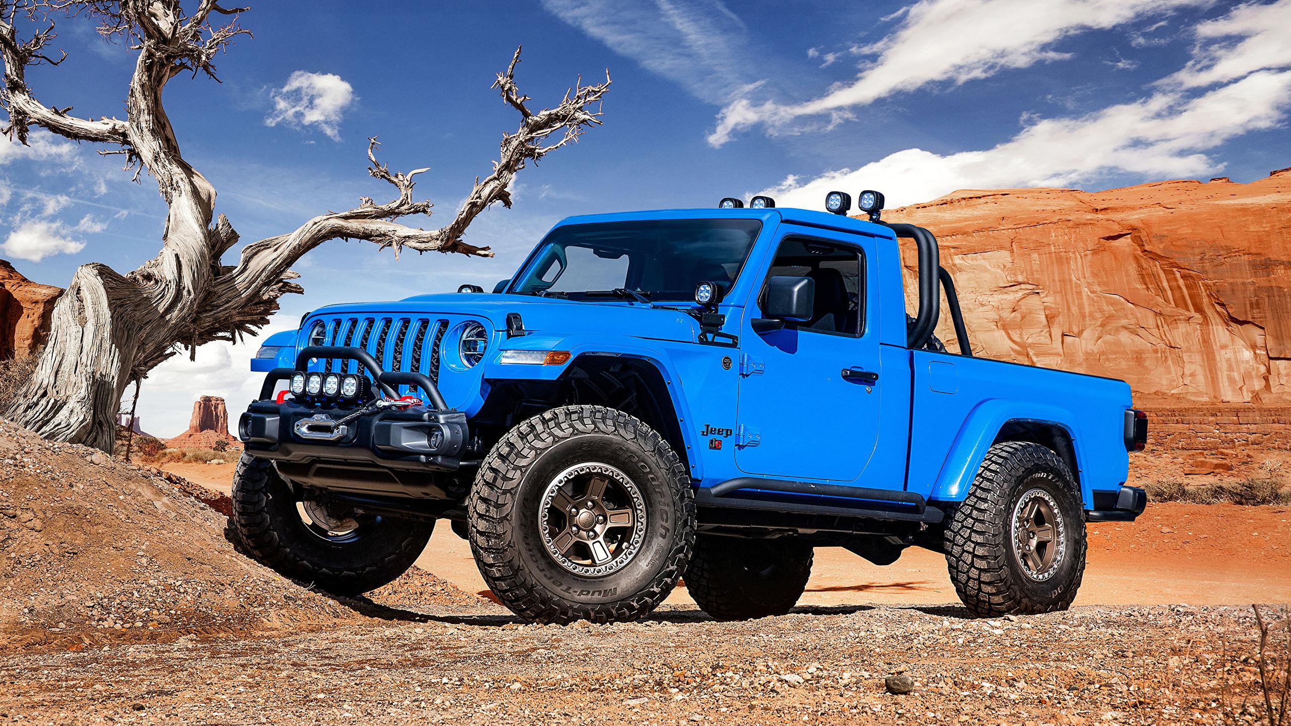 Картинки Джип 2019 J6 Пикап кузов Голубой Автомобили 2560x1440 Jeep голубых голубые голубая авто машина машины автомобиль
