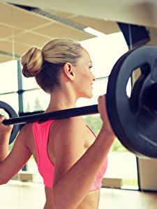 Картинки Фитнес Штанга Зеркало Тренировка Девушки Спорт