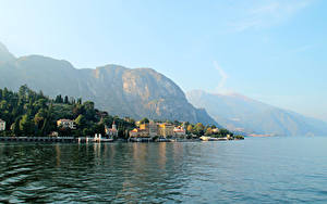 Фотография Италия Озеро Гора Дома Пирсы Lombardia Griante Города