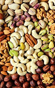 Картинка Орехи Текстура Лесной орех Миндаль Пища