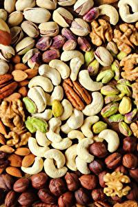 Картинка Орехи Текстура Лесной орех Продукты питания Еда