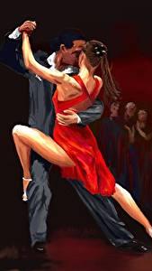 Фотографии Рисованные Танцуют Двое