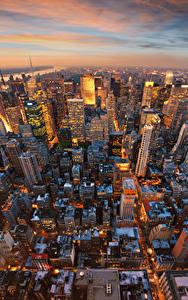 Обои США Вечер Дома Небоскребы Манхэттен Нью-Йорк Мегаполис Сверху