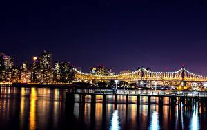 Фотография Америка Здания Мосты Нью-Йорк Ночью Гирлянда Залива город