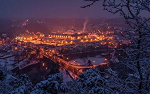 Фотографии Мосты Река Германия Ночью Waldheim, Zschopau River город