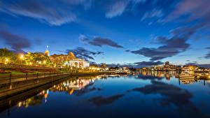 Фотографии Канада Дома Реки Вечер Небо Пристань Ванкувер Города