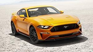 Картинки Форд Оранжевый Mustang Fastback 2017 V8