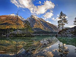 Обои Германия Горы Реки Пейзаж Утес Дерево Отражение Облако Berchtesgaden Природа