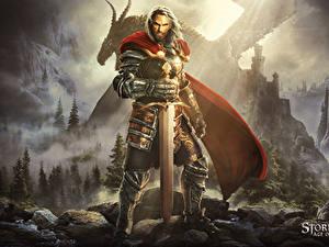 Картинка Stormfall: Age of War Воины Мужчины Мечи Броне компьютерная игра Фэнтези