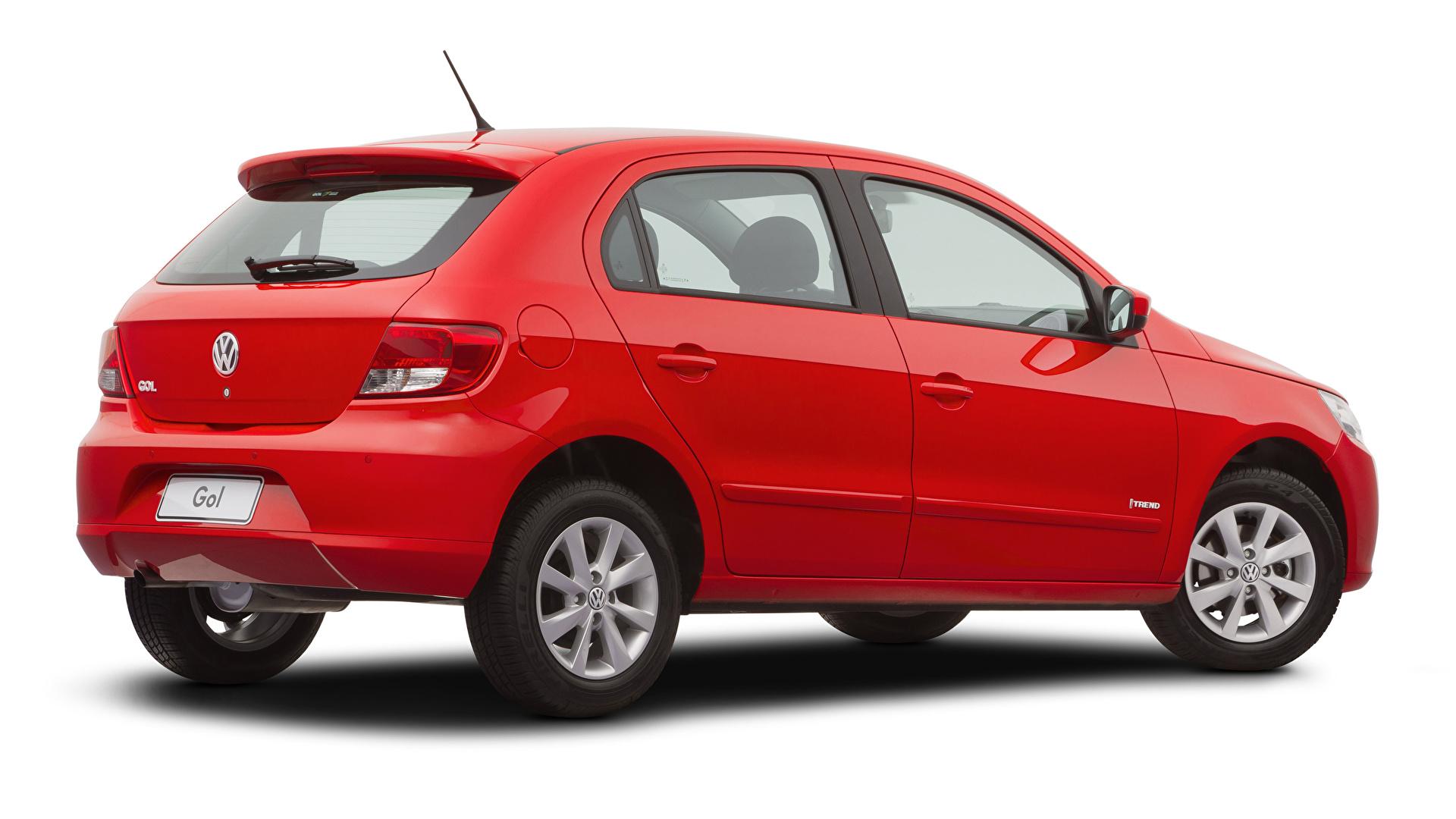 Картинки Фольксваген Gol Trend (V), 2008–12 красная машины Металлик Белый фон 1920x1080 Volkswagen Красный красные красных авто машина Автомобили автомобиль белом фоне белым фоном