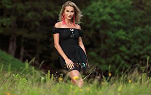 Картинки Cara Mell Блондинка Трава Платья Смотрят