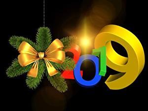 Фотография Новый год 2019 На черном фоне Бантики 3D Графика