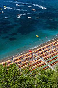 Обои Позитано Италия Берег Пляжа Сверху Природа