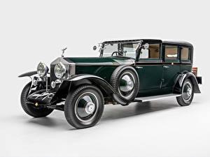 Картинка Роллс ройс Винтаж Белом фоне Зеленые Металлик 1927 Phantom I Town Car by Hooper машины