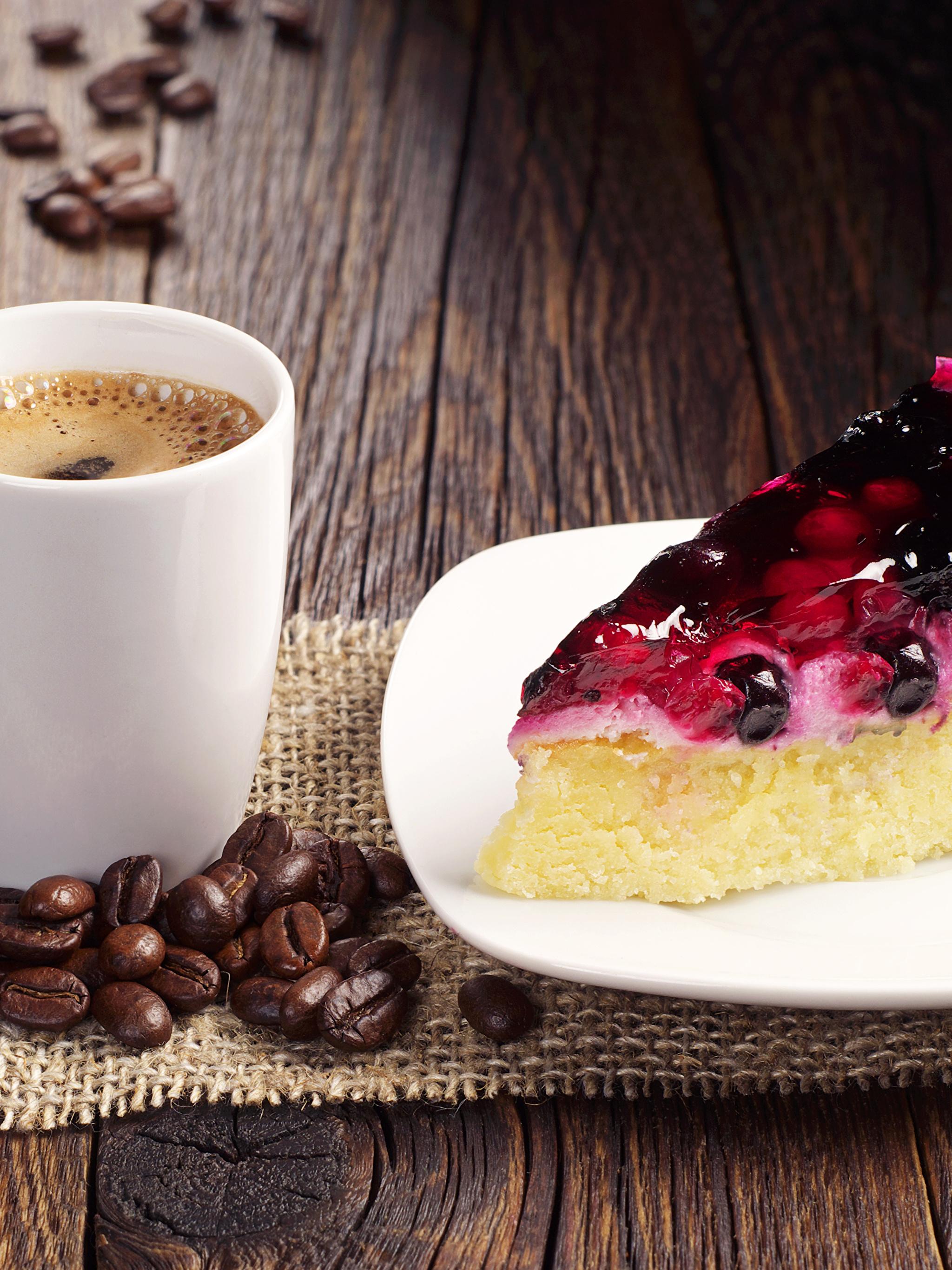 Фото Пирог Кофе часть Зерна Еда чашке тарелке Пирожное Доски 2048x2732 Кусок зерно Пища Чашка Тарелка Продукты питания