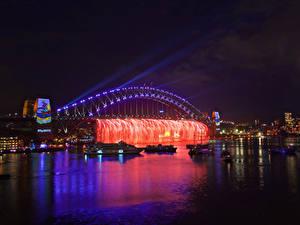 Фотография Австралия Речка Корабли Сидней Ночь Гирлянда Электрическая гирлянда