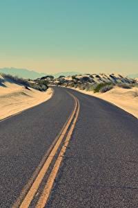 Картинки Пустыни Дороги Асфальт Горизонт
