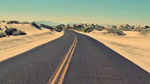 Картинки Пустыни Дороги Асфальт Горизонт Природа