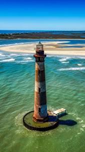 Картинки Америка Остров Океан Сверху Горизонт Старая Morris island, South Carolina Природа