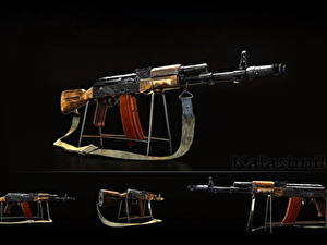 Фотографии Автоматы Русские Черный фон AK 74 AK-74N, Kalashnikov Армия
