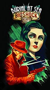Картинки BioShock Infinite Мужчины Пистолеты Черный фон Взгляд Elizabeth Игры