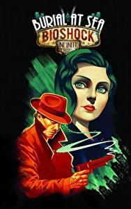 Картинки BioShock Infinite Мужчины Пистолет Черный фон Взгляд Elizabeth компьютерная игра