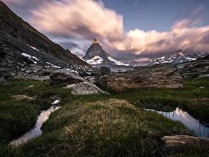 Фотографии Гора Швейцария Траве Утес Matterhorn